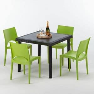 Tavolino in polyrattan per ristoranti e giardini idfdesign - Tavolo e sedie giardino ...