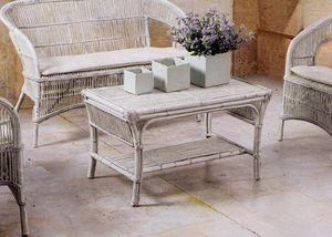 Tavolino Tais, Tavolino etnico intrecciato per uso esterno