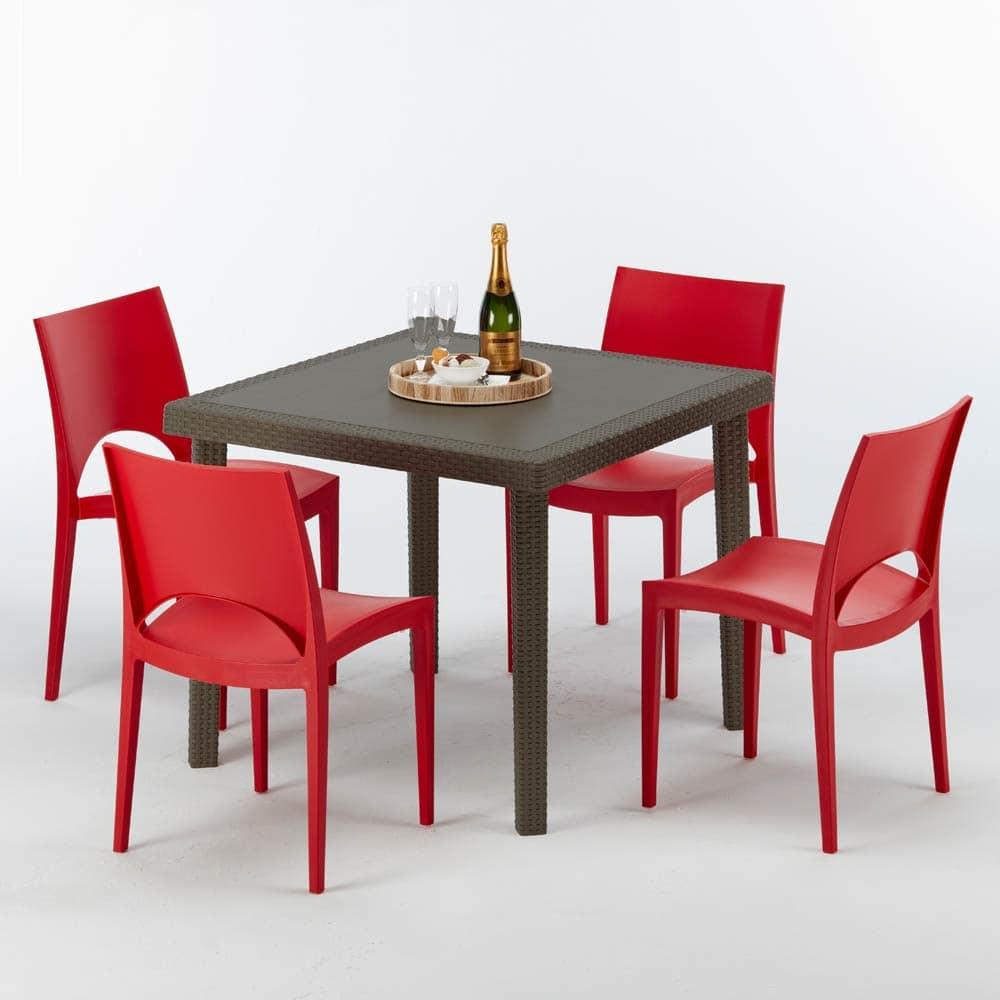 Tavolo quadrato in rattan, per bar all\'aperto | IDFdesign