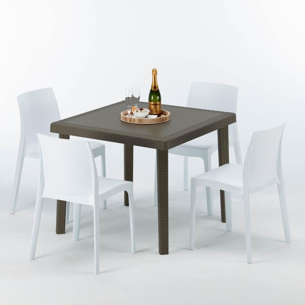 tavolo e sedie cucina esterno impilabili s7090setmk4 tavolino in polyrattan per giardini