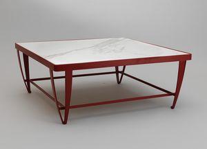 ZIG ZAG GF4023CT-SQ, Tavolino quadrato basso in ferro rosso