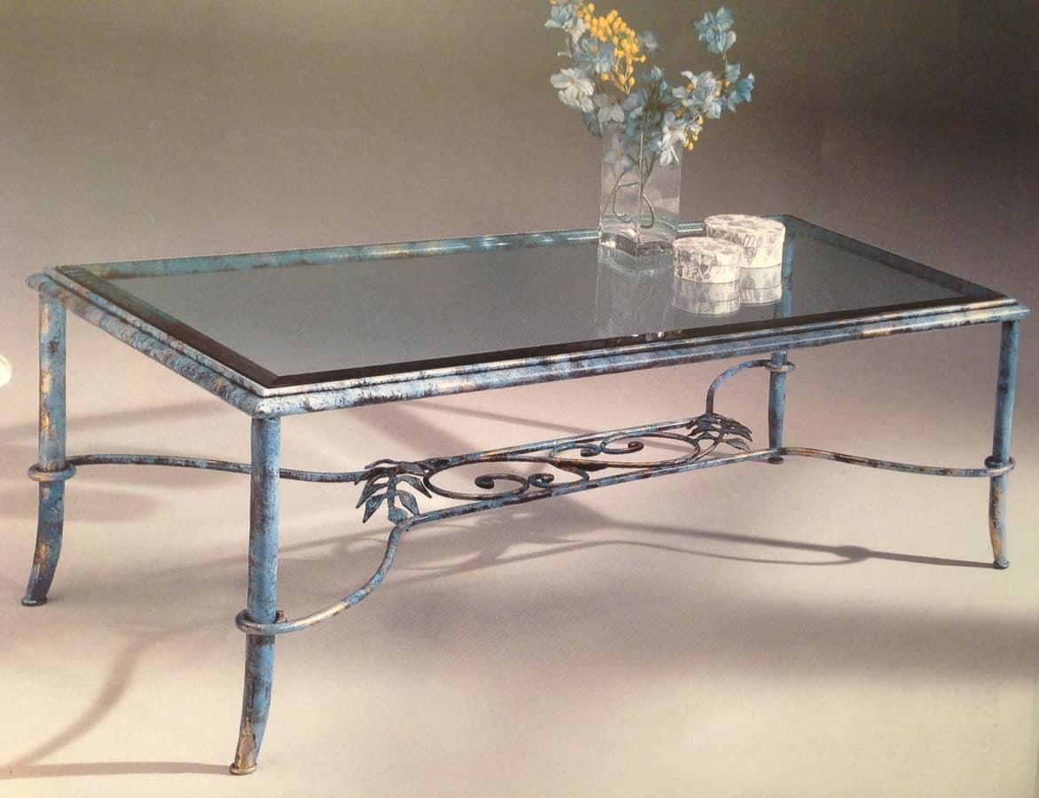 Tavolini In Vetro E Ferro Battuto : Salontafels meubels tavolino salotto achille in ferro battuto e