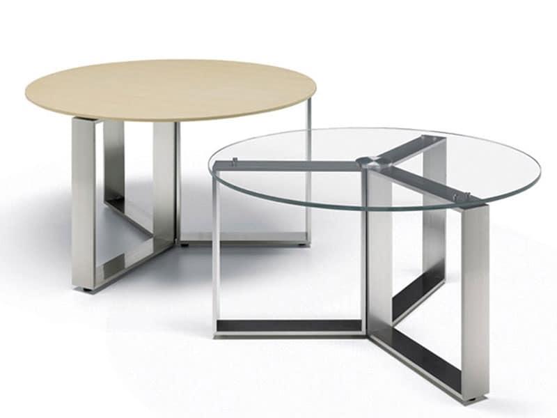 Tavolino moderno base cromata piano in legno o vetro for Tavolini per ufficio