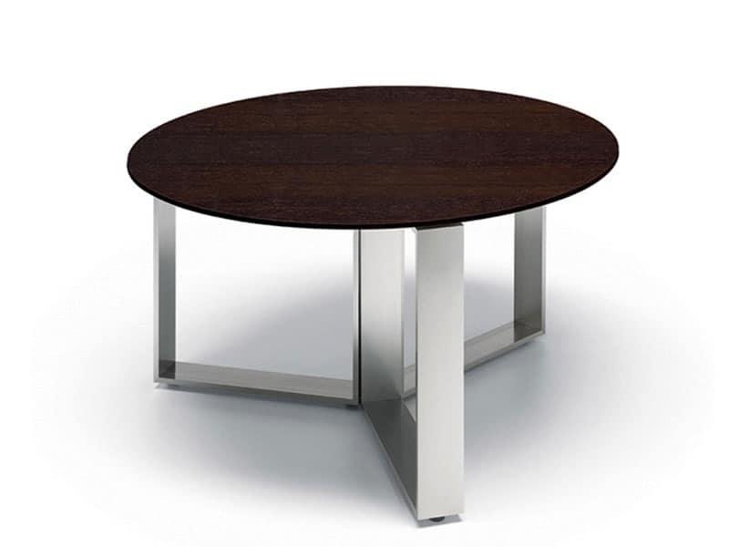 Tavolino moderno base cromata piano in legno o vetro for Tavolini arredo