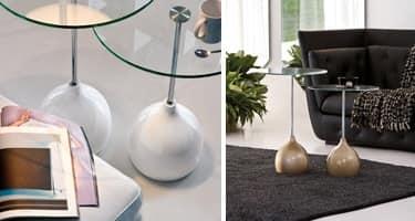 ADACHI, Tavolino da caffè dal disegno alternativo, in vetro e marmo