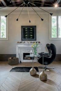 ADACHI, Tavolino da caff� dal disegno alternativo, in vetro e marmo