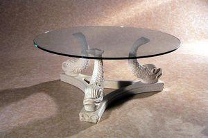 Alfeo, Tavolino in pietra, base decorata con pesci