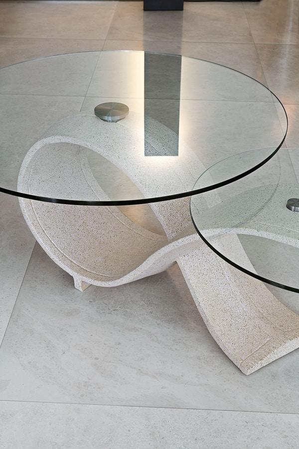 ALPHA TL207, Tavolino con due piani tondi in vetro