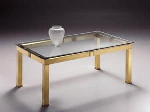 AMADEUS 3066, Tavolino rettangolare in ottone, piano in cristallo