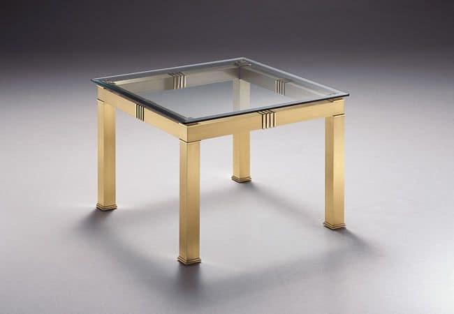 Tavolino Cristallo Ottone.Tavolino Quadrato In Vetro E Ottone Per Salotto Idfdesign