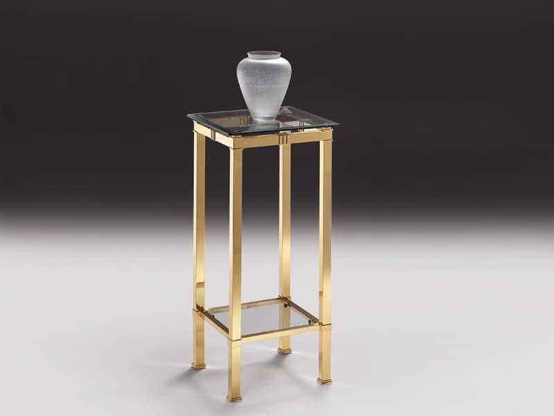 Tavolino alto per salotto in ottone e cristallo idfdesign - Tavolini vetro e ottone ...