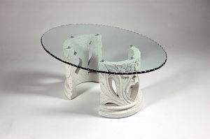 Amos, Tavolino stile classico con piano in vetro