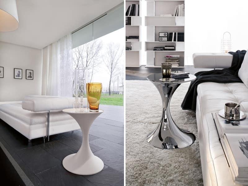 ANDORRA, Tavolino tondo in metallo con piano in vetro