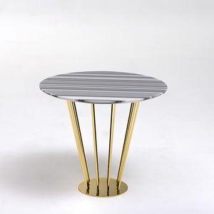 Ariel AR228, Tavolino tondo dorato, con piano in marmo