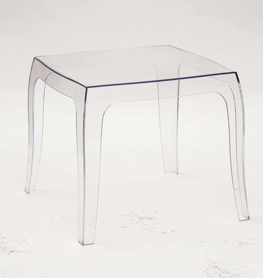 Tavolino in policarbonato trasparente, adatto a varie