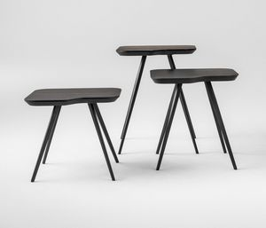 ART. 00102 AKY SMALL-MET, Tavolino design con gambe in metallo e piano in frassino