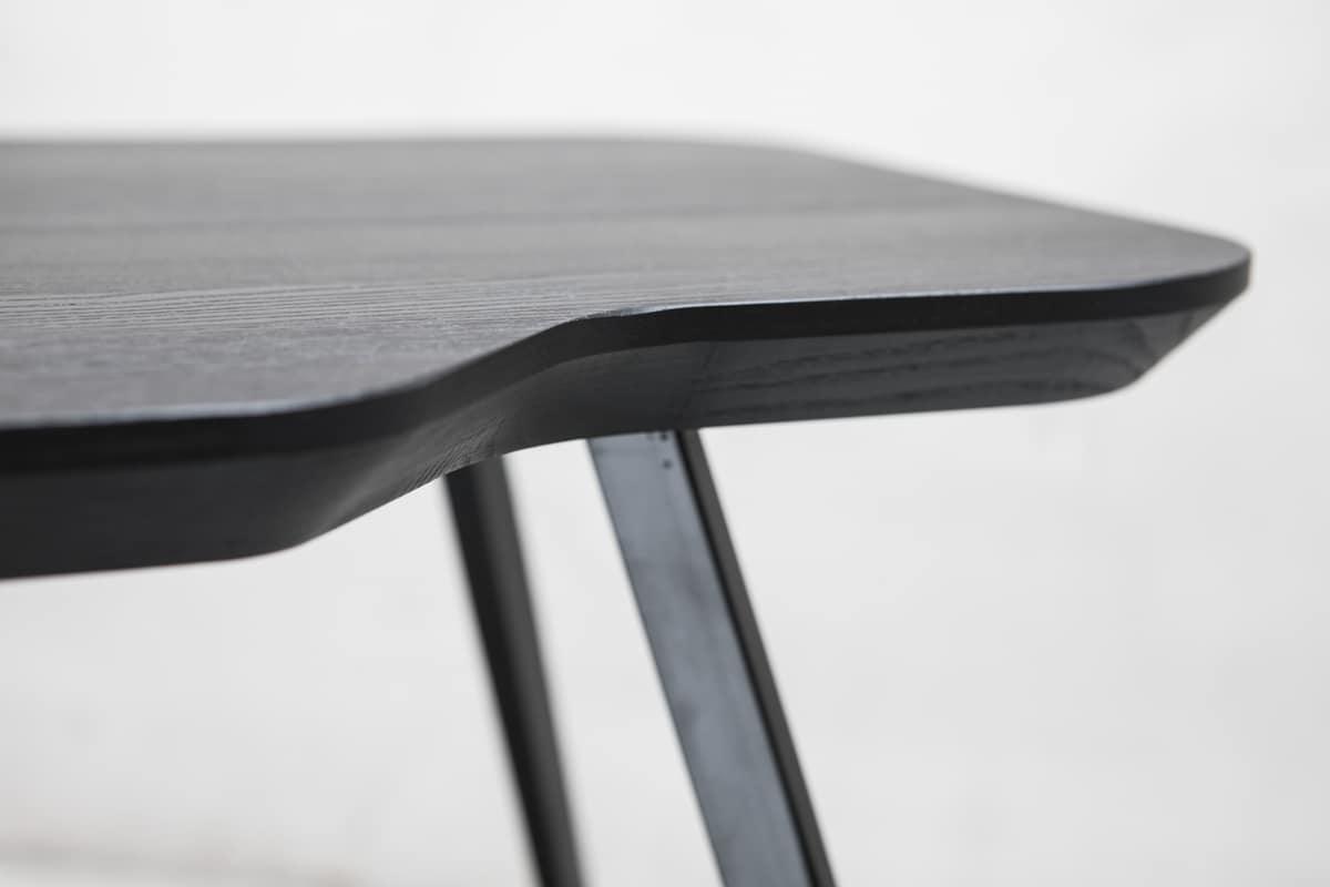 ART. 00102-SMALL-MET AKY, Tavolino design con gambe in metallo e piano in frassino