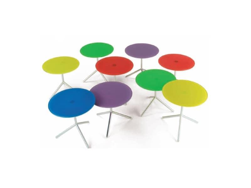 Atom 2, Tavolino con piano in vetro colorato extrachiaro
