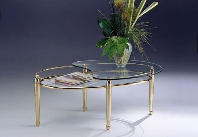 Tavolino Cristallo Ottone.Tavolino Ovale In Ottone 2 Piani In Vetro Per Salotto