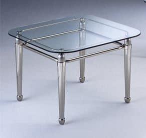 CARTESIO 268, Tavolino quadrato in ottone satinato e vetro, per salotto