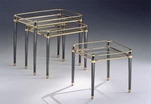 CARTESIO 274, Set tavolini in ottone, finiture foglia oro, per salotto
