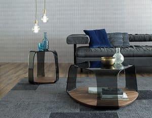 CHAKRA, Tavolino con piano in legno, struttura in vetro