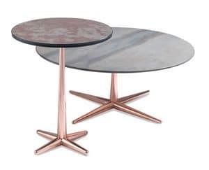 City tavolino, Tavolino da caff� con piano impiallacciato, base in metallo