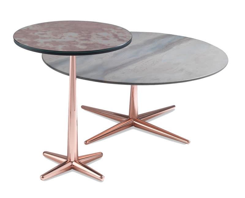 Tavolino da caffè con piano impiallacciato, base in metallo ...
