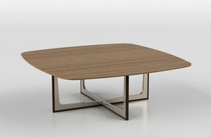 Cross low table 1, Tavolino con piano in ceramica o legno