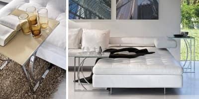 DETROIT, Tavolino dal disegno lineare, in metallo e vetro, per sala lettura
