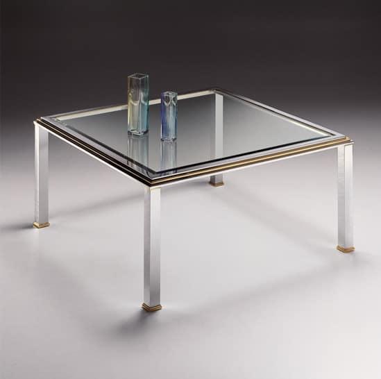 Tavolino quadrato in ottone cromato e cristallo con - Tavolini vetro e ottone ...