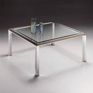 DOMUS 2168, Tavolino quadrato in ottone cromato e cristallo con bisello