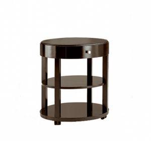 Downtown tavolino con cassetto, Tavolino tondo in legno, con cassetto