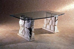 Drake, Tavolino da salotto con doppia base in pietra