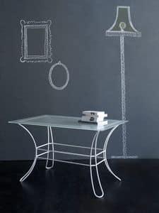 Fiocco Tavolino Rettangolare, Tavolino in tubolare di ferro, piano in vetro serigrafato