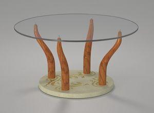 Geko, Tavolino con piano tondo in cristallo