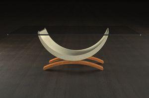 Gordon, Tavolino con base in legno e pietra