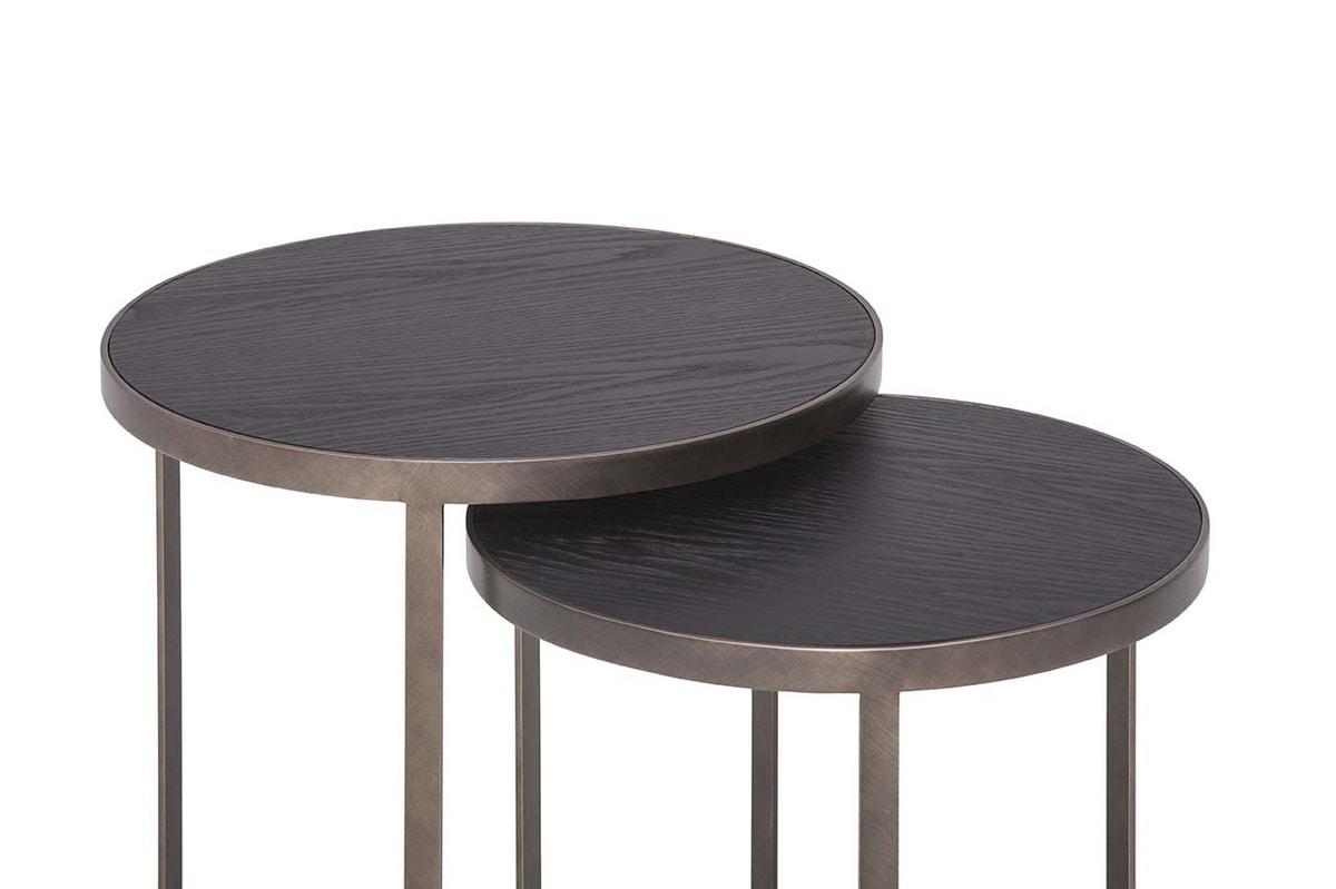 HAMMER, Tavolini con struttura in metallo e top in legno