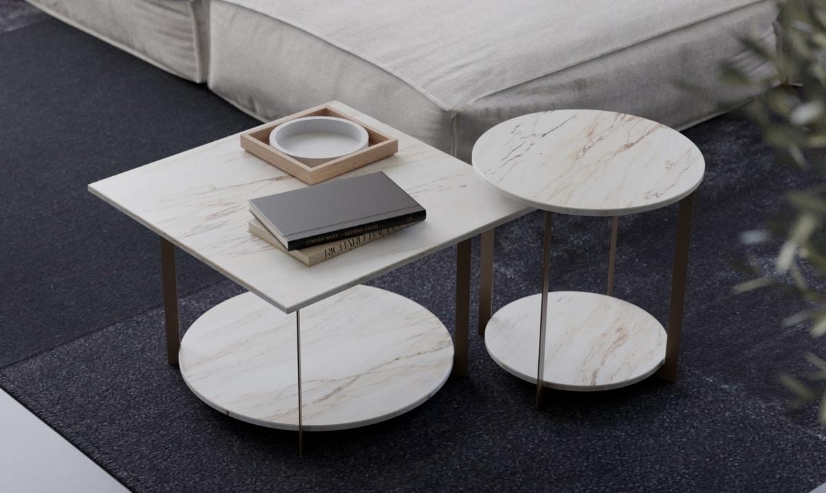 ICS tondo, Tavolino con base e piano tondo, per salotto