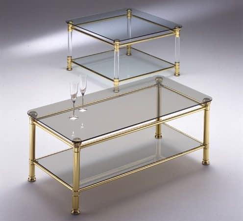 Tavolino ottone piano in vetro trasparente per salotti - Tavolini vetro e ottone ...