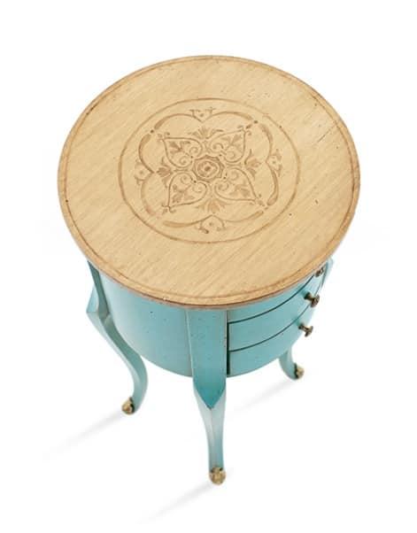 KAO Art. 4256, Tavolino laccato con piano tondo in noce, classico