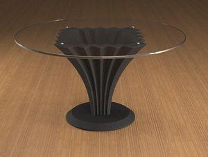 Liko, Tavolino con piano tondo in vetro