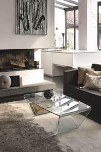 LYRA TLC10, Tavolino rettangolare in vetro curvato