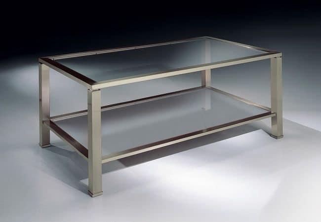 MADISON 3270, Tavolino rettangolare in nikel, piano in vetro, per salotti