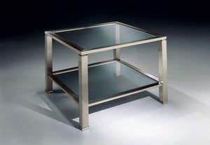 MADISON 3271, Tavolino quadrato in ottone nickel, piano in vetro