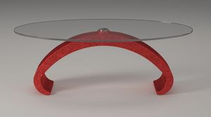 Mantus, Tavolino con piano in vetro