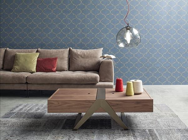 MATRIOSKA, Tavolino dallo stile lineare, top in legno con contenitore