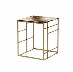 Matrix tavolino alto, Tavolino in metallo e vetro bronzato