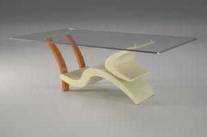 Morgan, Tavolino con base in pietra e legno
