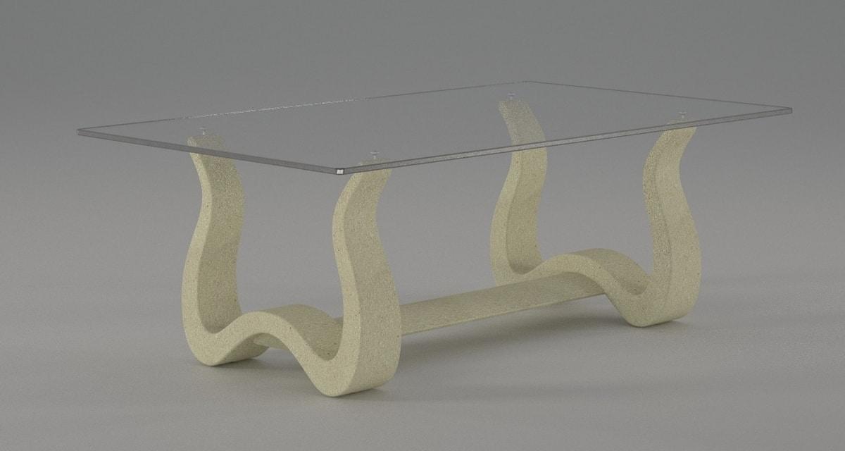 Nabia, Tavolino da salotto con base in pietra lavorata
